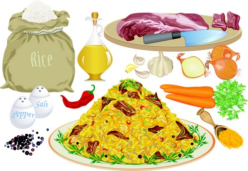 Pilaf and ingredients Vector Clipart