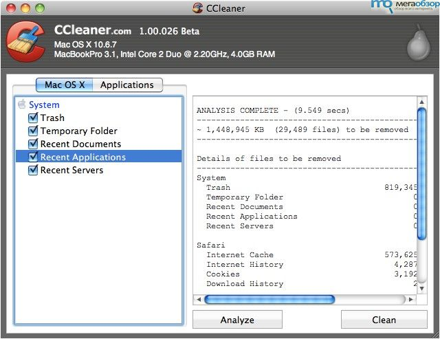 CCleaner for Mac Beta 3